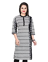 Black & White Printed High Neck Cotton Kurti