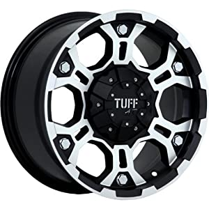 Tuff T03 15 Machined Black Wheel / Rim 6×5.5 with a -13mm Offset and a 108.0 Hub Bore. Partnumber T03DK6M13K108