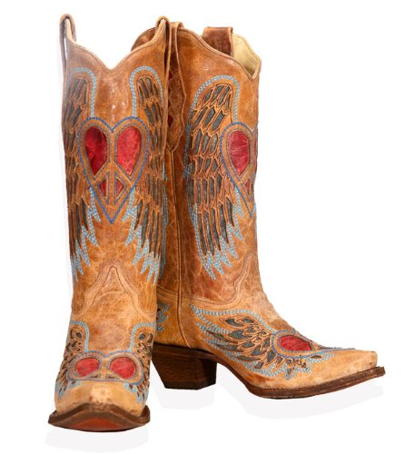 d606e30146c1 Price CORRAL Women s BOOT WITH HEART PEACE SIGN Antique Saddle Blue Heart  Leather Boots 6