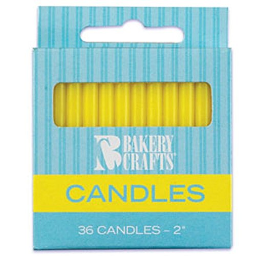 Oasis Supply Plain Birthday Candles, 2-Inch, Yellow - 1