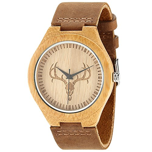 wonbee-bamboo-wood-watches-deer-skull-design-with-cowhide-leather-strap-unisexbonus-2-wooden-bead-br