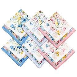 OWM Handkerchiefs Pack of 6 Beautiful Handkerchiefs Women Bulk