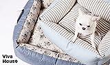 LouisDog デザイナーズ ドッググッズ 【正規販売店】 セレブ 犬 【ベッド / 快適 コットン / 撥水加工】 Viva House Super-Blue Stripe (19152)