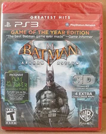 Batman Arkham Asylum: Game of the Year Edition - PS3 - 4 Extra Challenge Maps - 3D Compatible (3D Glasses NOT included)
