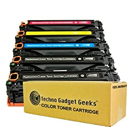 Techno Gadget Geeks 5 Pack CE320A CE321A CE322A CE323A Cyan Magenta Yellow Black Toner Cartridge Fits Color LaserJet Pro CM1415 CM1415fnw mfp CM1415fnw CP1525nw CM1415 CM1415mfp CM1525 CM1525 from Techno Gadget Geeks