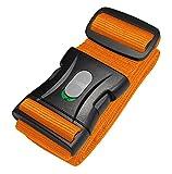 Koffergurt | Kofferband | Gepäckgurt extra lang (250x5cm) mit abschließbarer Schnalle von BE-HOLD schützt Ihren wertvollen Gepäckinhalt vor Verlust (Farbe orange) (orange)