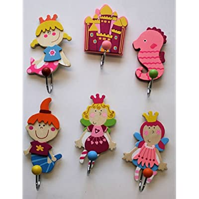 Set of 6 Wooden Coat Hooks - Fairy Princess Designs