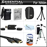 "Essential Accessories Kit For Nikon Coolpix S800c S6300 S6200 S8200 S9300 S9200 Digital Camera Includes Extended Replacement (1100MAh) EN-EL12 Battery + AC/DC Charger + Mini HDMI Cable + USB Card Reader + Hard Case + 50"" Tripod w/Case + Screen Protectors"