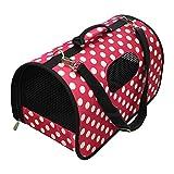 ペット用キャリーバッグ (収納時折りたためる機能つき) サイズ: M 水玉ピンク