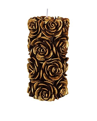 Volcanica Candles Flora Medium Pillar Candle, Black/Gold