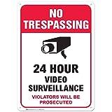 No Trespassing & Video Surveillance Warning Sign, Large Rust Free 10x14