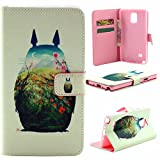Note 4 Case,Vogue Shop Note 4 Wallet Case [Book Fold] Leather Galaxy Note 4 Cover [Flip Cover] with Foldable Stand, Pockets for ID, Credit Cards - Black Flip Case for Samsung Note 4 .Protective Samsung Galaxy Note 4 PU Leather Wallet Case with Foldable Kickstand and HD Screen Protector for Galaxy Note 4 Folio with Stand All-around TPU Inner Case and Snap Button Closure Stylish Pattern Design for Note 4 (Vogue shop-Owl)