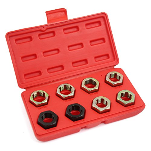 sourcingmap 8pcs Spindle Rethreading Die Set in Case Thread Restore For Car
