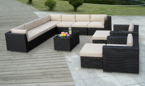$Cheapest Genuine Ohana Outdoor Patio Sofa Sectional Wicker Furniture 12pc Co