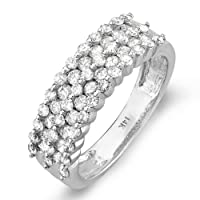 1.00 Carat 14k White Gold Round Diamond Ladies Wedding Band - Lesbian Wedding Ring