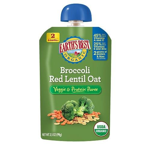 Earth'S Best Baby Foods Broccoli Red Lentil Oat (12X3.5 Oz) front-1015509