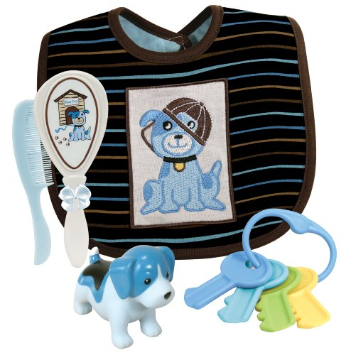 Stephan Baby Bib, Bath Squirter, Key Rattle and Brush/Comb Gift Set, Blue Dog