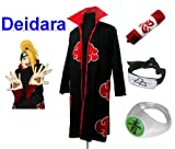 Traje de Cosplay para cosplay Naruto Akatsuki Deidara Ninja Set- Capa (S:Tamaño 150cm-158cm)+caja de lápiz+Deidara diadema+anillo+zapatos
