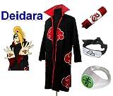 Traje de Cosplay para cosplay Naruto Akatsuki Deidara Ninja Set- Capa (S:Tama�o 150cm-158cm)+caja de l�piz+Deidara diadema+anillo+zapatos