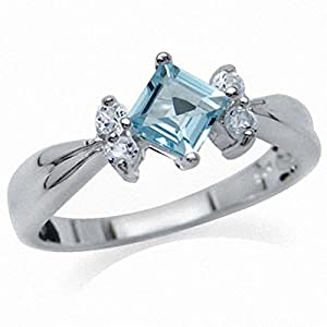 Natural Blue Topaz & White Topaz 925 Sterling Silver Engagement Ring SZ Size 7