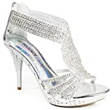 JJF Shoes D07 Silver Glam Sparkling Rhinestone Dancing Evening High Heel Pumps-8