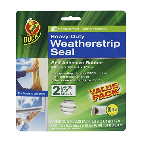 Duck Brand Heavy-Duty Self Adhesive Weatherstrip Seal for Large Gap, White, 3/8-Inch x 1/4-Inch x 17-Feet, 2 Seals, 282434