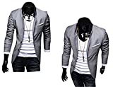 Ghope 2014 Neu Herren Slim Fit Stylish Sakko 3 Farben Blazer Freizeit Business Jacke Anzugsjacke Premium Luxus Herren Slimfit Blazer Sakko Jacket Jacke Anzugsjacke Dress Jacket in verschiedenen farben und grössen 2014 Herrens Slim Fit Jackets Pure Color Blazers Simple Casual Formal Suit Herren-Cardigan stylischer Cardigan Normal Slim Fit Herrenhemd Langarm Verschiedenen Farben Herrenkleidung stilvolles Design Herrenjacke Blazer Herren Sakko Jacket Blazer Freizeit Buisiness Jacke Slimfit Herren Casual Highneck Cotton Zipper Jacke (Asia XL / EU M, Grau)