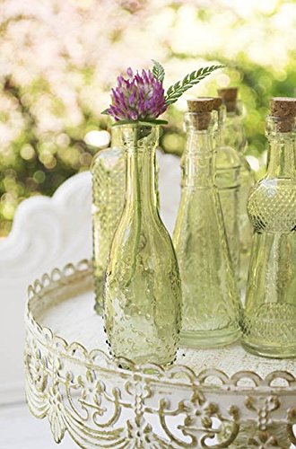 Vintage Glass Bottles with Corks, Bud Vases, Assorted Shapes, 5 Inch Tall, Mini Vases, Set of 10 Bottles, (Green) 1