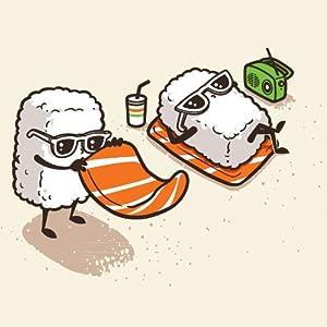 "Amazon.com: ""Summer Sushi"" Funny Cartoon Sushi Sunbathing on Beach"