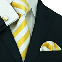Landisun 125 Bright Yellow White Stripes Mens Silk Tie Set: Tie+Hanky+Cufflinks