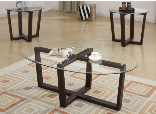 3 Piece Dark Brown Base Glass Top Occasional Coffee Table Set By Poundex Your Special Deals