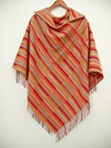 """Cashmere-blended With Fine Wool Poncho in Unique, Catchingly Attractive """"Rainbow Colors"""", WM-WL Size"""