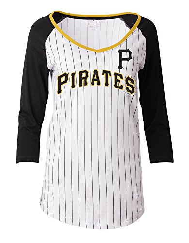 MLB Pittsburgh Pirates Women's Pinstripe 3/4 Sleeve Jersey, White, Medium