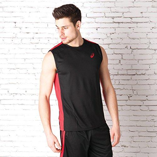 ASICS Running-uomo Shirt Senza maniche Tee Canotta 130804 - nero rosso, M
