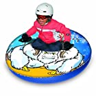 Aqua Leisure Winter Inflatable Round Yeti Fossil Snow Tube Sled for 1 ( One ) Single Rider on Sledding Hill, Fast yet Safe, with 2 ( Two ) Big Durable Grip Handles and Repair Kit, 48