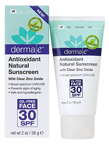 derma e Antioxidant Natural Sunscreen SPF 30 Oil-Free Face Lotion with Vitamin C and Green Tea 2 oz