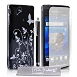 Stylish Butterfly Flower Hard Hybrid Case Cover For The Sony Ericsson Xperia Arc X12 S Black Silver With Stylus Pen Screen Protector Film And Grey Micro-Fibre Polishing Clothby Yousave