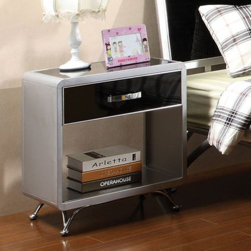 Furniture Of America Furniture Of America Metro Metal 1 Drawer Nightstand - Silver And Black, Black front-933912