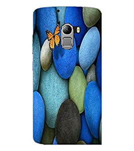 PrintDhaba Coloured Stones with Butterfly D-1266 Back Case Cover for LENOVO VIBE X3 LITE (Multi-Coloured)