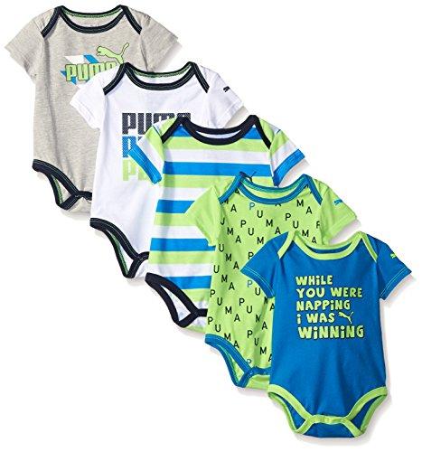 PUMA Baby Boys' 5 Pack Bodysuit Pack, Sky Blue, 0/3M