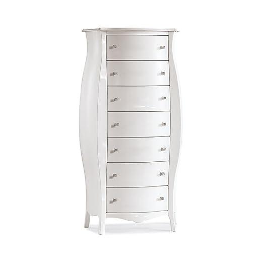 Cassettiera bombata, stile classico, in legno massello e mdf con rifinitura in bianco - Mis. 74 x 31 x 142