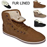 Ladies Womens Flat Lace Up Sport High Hi Top Pumps Fleece Fur Trainers Shoes Sizes UK 3 4 5 6 7 8 Girls Fur Lined Trainers Shoes Warm Winter Ankle Boots