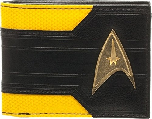 Mix Material Star Trek Command Logo Metal Badge Bifold Wallet