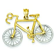 14K Two Tone Gold 3D Bicycle Charm Bi…