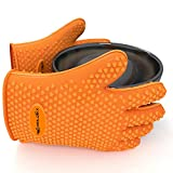 BBQ Grill Gloves ~ SheildEx® ★ Latest & Stylish Design ★ #1 For All Uses: Oven, Cooking, Barbecue Pit ★ 2 EBOOKS ★ Also as: Perfect Pork Puller, Meat Smoker, Potholder, Baking Mitt, Boiling Water, Outdoor Camping Stoves ★ Highest Rated Heat Resistant Silicone ★ Best Insulated Grip on Hot Food items ★ Under FDA Protection ★ Original Multi-Purpose Water Proof Rubber ★ One of the Best Kitchen Gift Set Accessories ★ Better than Weber grills, Shealy's, Thermoworks, Igrill, Gecko, Ekos ★ Five Finger Fit for Men and Women of all sizes big, small, xl, xxl ★ Life Time Surity ★ Endorsed By Firemen.