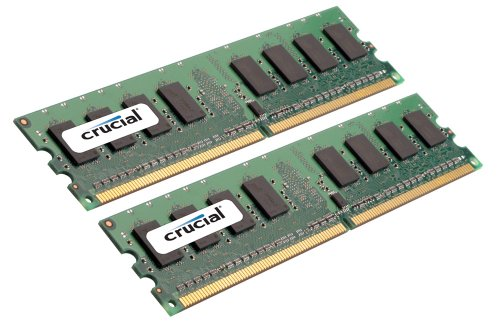 Crucial Technology 4 GB Kit (2 GB x 2) 240-pin DIMM DDR2 PC2-6400 Unbuffered ECC DDR2-800 Memory Kit (CT2CP25672AA800)