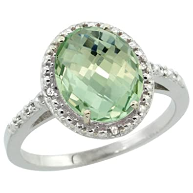 Revoni Sterling Silver Green Amethyst And Diamond Ring, Oval Stone (10x8 mm)