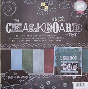 "DCWV The CHALKBOARD STACK Pad of 36 Sheets CARDSTOCK 12"" X 12"" Acid & Lignin Free"