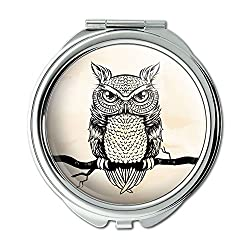 Owl Perched On Tree Branch Compact Purse Mirror
