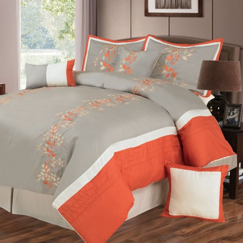 Lavish Home Branches 7-Piece Embroidered Comforter Set, Queen front-680258